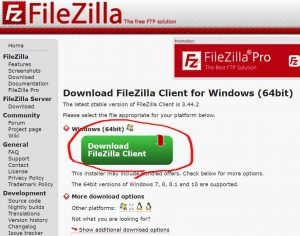 [Download FileZilla Client] を押下